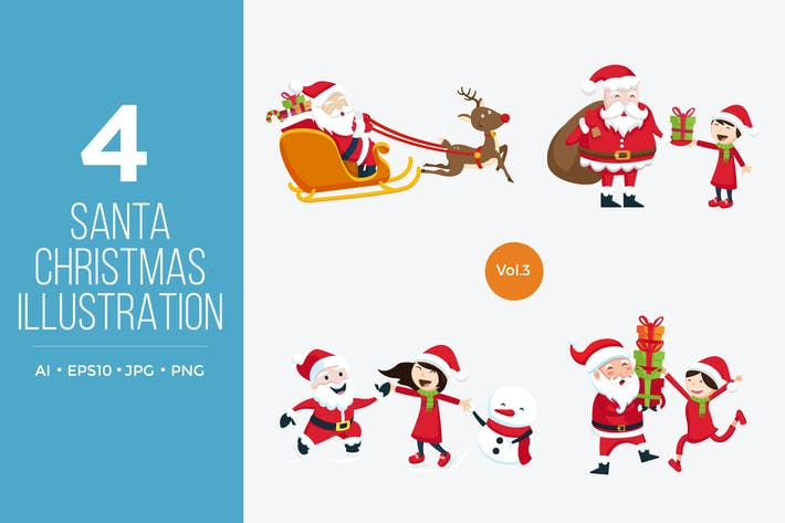Thumbnail for Cute Santa Claus Vector Character Set 3