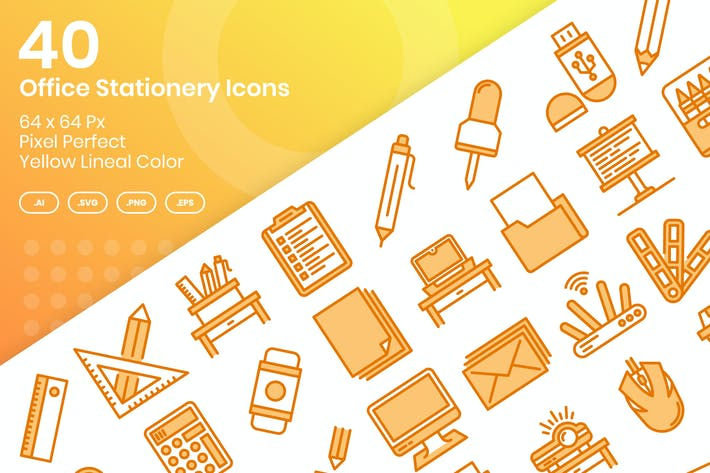 Thumbnail for 40 Office Stationery Icons - Yellow Lineal Color