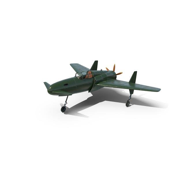 Vintage Canard Propeller Airplane Landed