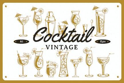 Cocktail Vintage Illustration Set