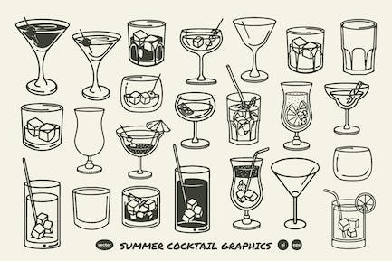 Summer Cocktail Glass Graphics