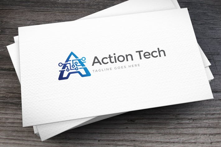 Cover Image For Action Tech Letter A Logo Template