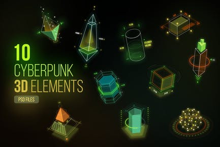 Cyberpunk 3D Elements