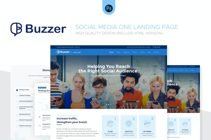 Thumbnail for Buzzer - Social Media Landing Page PSD + HTML