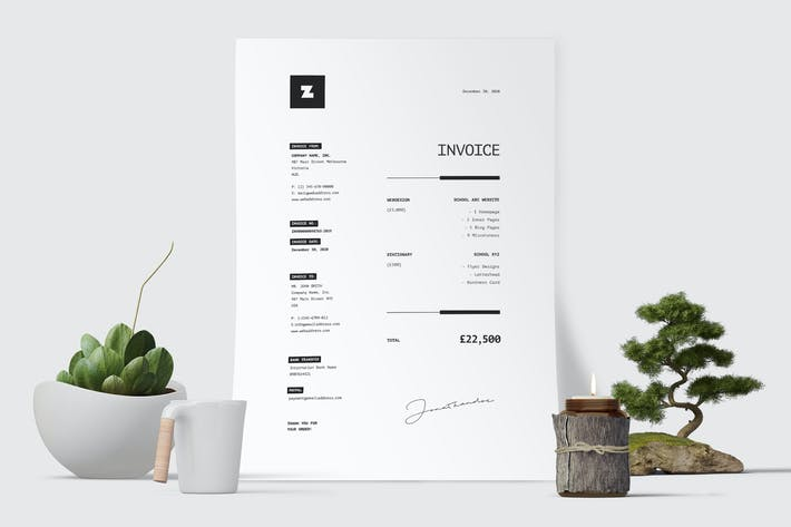 Thumbnail for Minimal Invoice Template 47