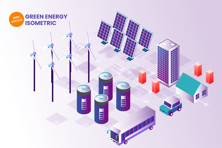 Thumbnail for Isometric Green Energy Vector Illustration