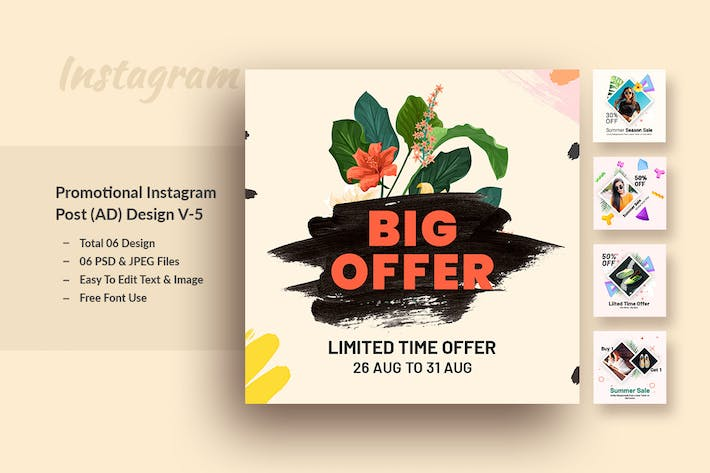 Thumbnail for Promotional Instagram Post (ADS) Template V-5