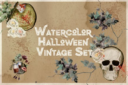 Watercolor Halloween Vintage Set