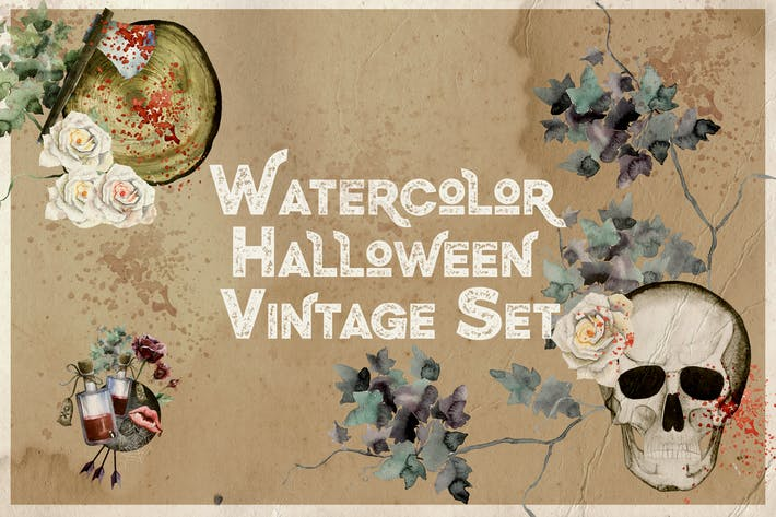 Cover Image For Watercolor Halloween Vintage Set