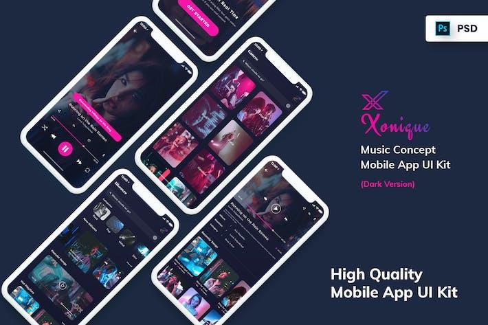 Thumbnail for Xonique-Music Mobile App UI Kit Dark Version