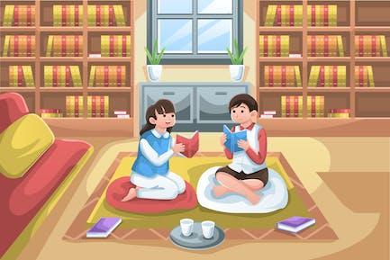 Kinder lesen Illustration (2 Variationen)