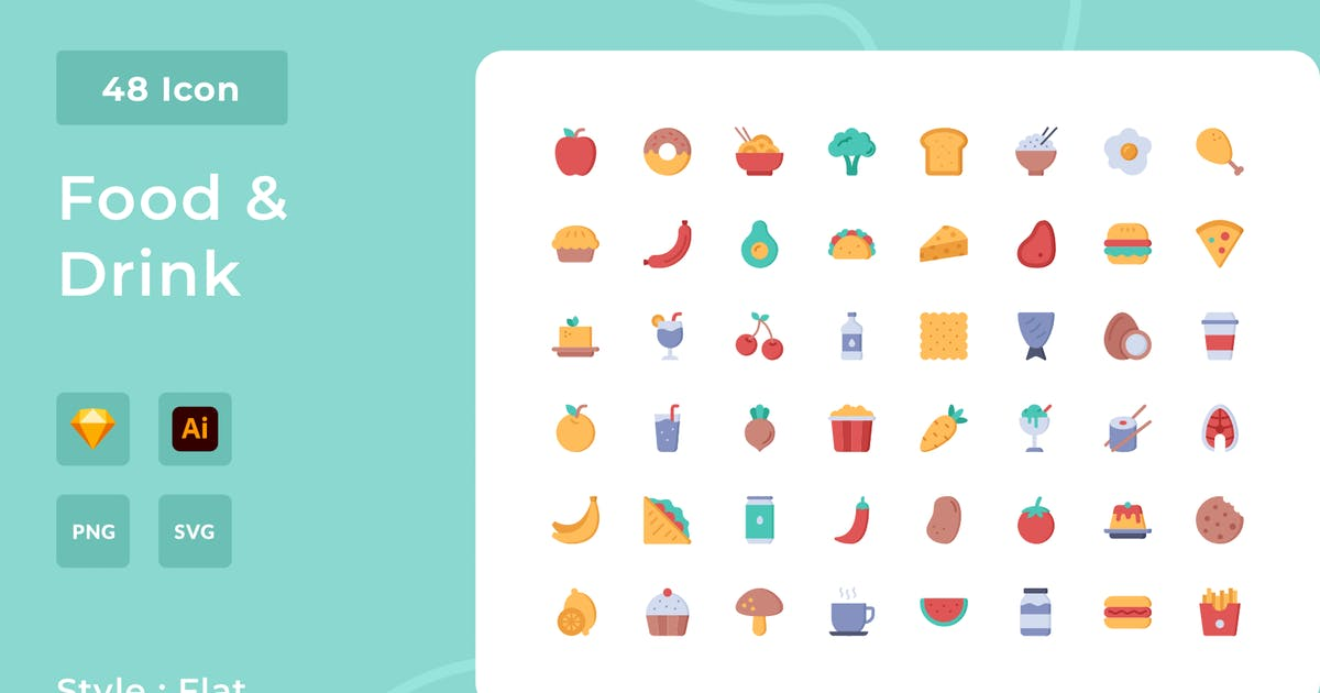 Download Food And Drink Flat Style Icon Pack by usedesignspace