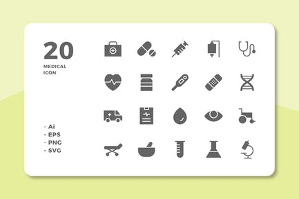 20 Medical Icons (Solid)