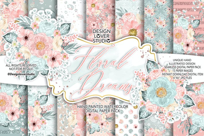 Thumbnail for Floral Dreams Blush digital paper pack