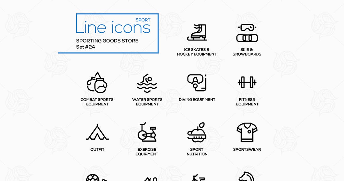 Sporting goods store - modern vector line icons by Unknow