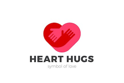 Heart Love Logo Hugging Hands Negative space style