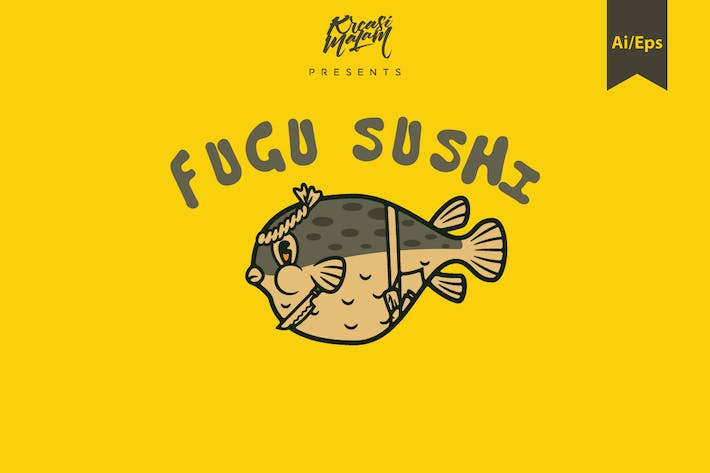 Thumbnail for Fugu Sushi Logo Template