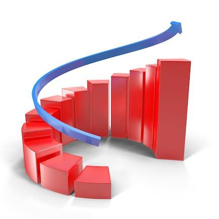 Gráfico rojo de crecimiento en espiral