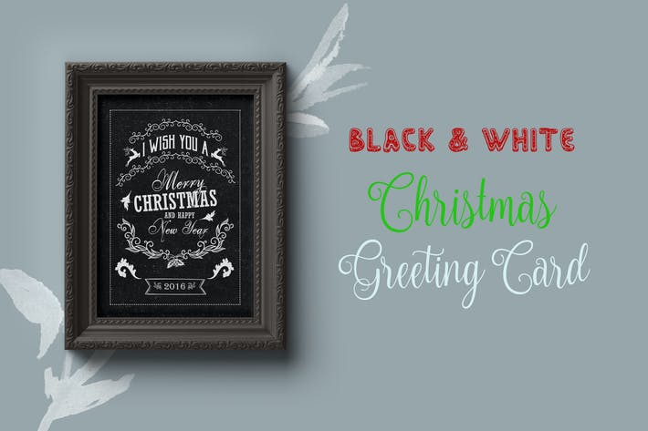 Thumbnail for Black and White Christmas Greeting Card