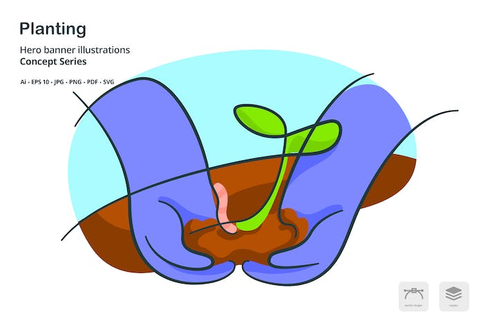 Planting Agriculture Ecology Vector Illustration