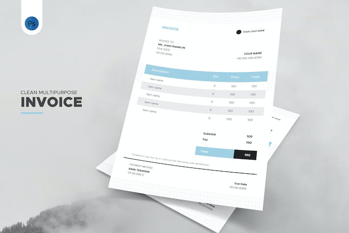 Thumbnail for Clean Business and Agency Invoice