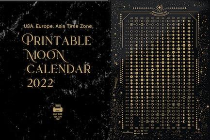 Printable 2022 Moon phases calendar
