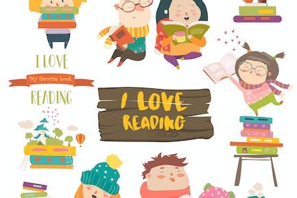 Kit de Dibujos animados niños que leen libros. Vector
