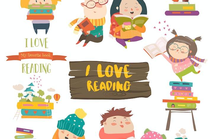 Thumbnail for Set of cartoon children reading books. Vector