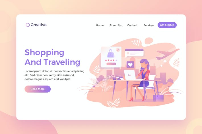 Cover Image For Shopping and Travelling, ecommerce Landing Page