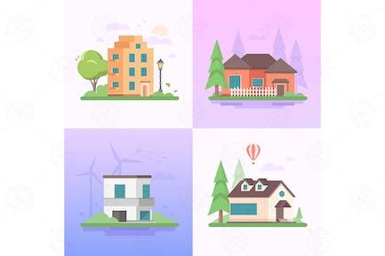 Umweltfreundlicher Ort - Set von flachen Illustrationen