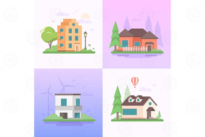 Thumbnail for Eco-friendly place - set of flat illustrations