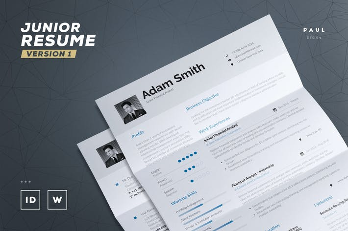 Thumbnail for Junior Resume / Cv Template