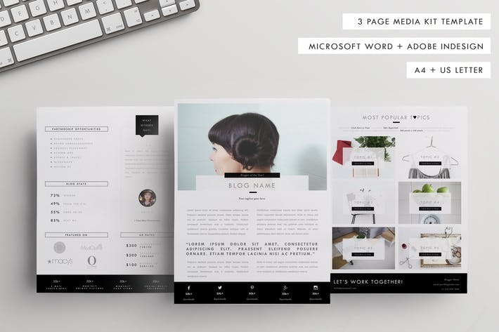 Blog Media Kit Template + Sponsorship Set by CokoCreates on Envato ...