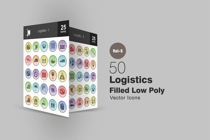 Thumbnail for 50 Logistics Filled Low Poly Icons