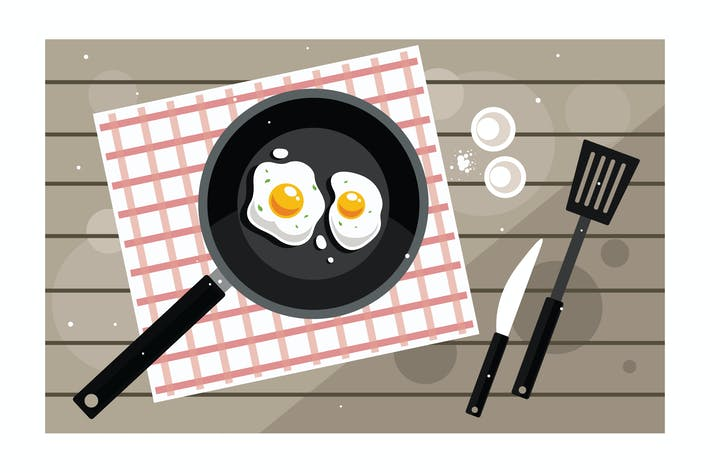 Thumbnail for Breakfast with fried eggs in frying pan