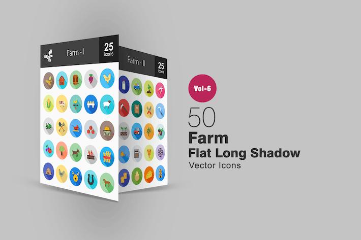 Thumbnail for 50 Farm Flat Shadowed Icons