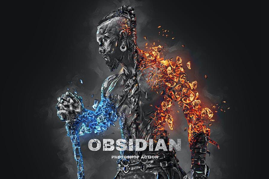 Acción de Photoshop de obsidiana