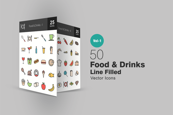 Thumbnail for 50 Food & Drinks Line Filled Icons