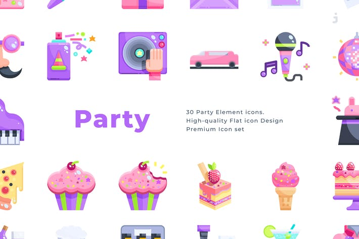 Thumbnail for 30 Party Icons - Flat