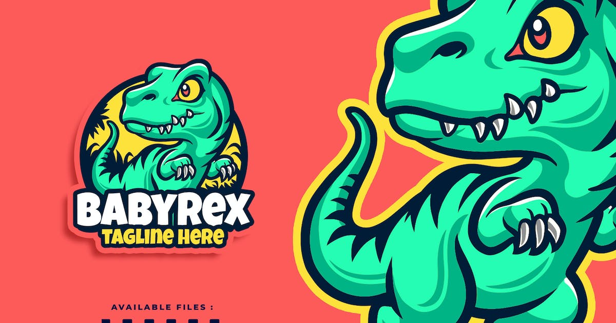 Download Baby T-Rex Cartoon Character Business Logo by Blankids