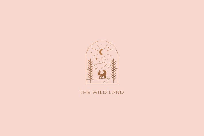 Thumbnail for The Wild Land Wolf Logo Template