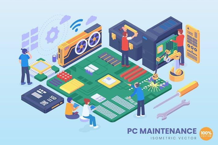 Isometrische PC-Wartung Vektor konzept