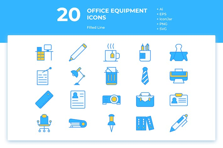 Thumbnail for 20 Office Equipment Icons (Filled Line)