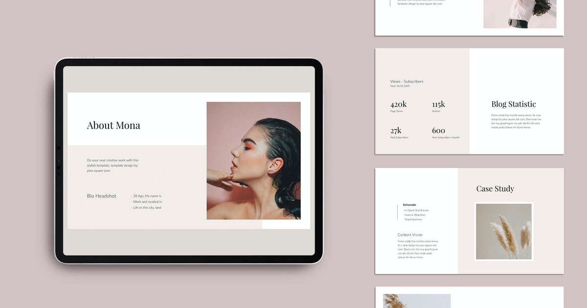 Download MONA - Media/Press Kit Powerpoint Template by Pixasquare