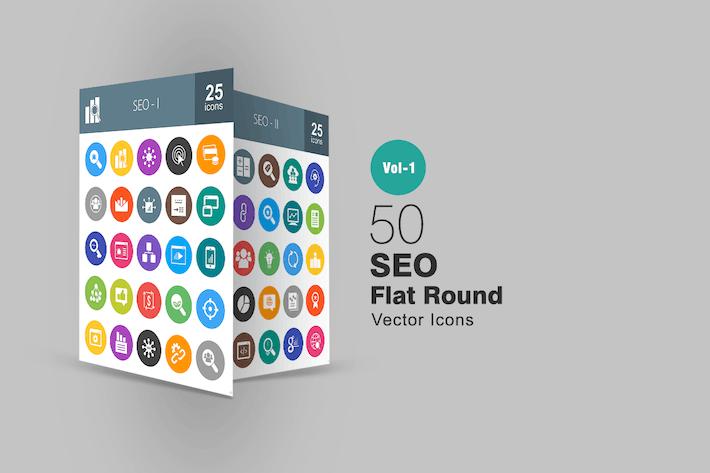 Thumbnail for 50 SEO Flat Round Icons