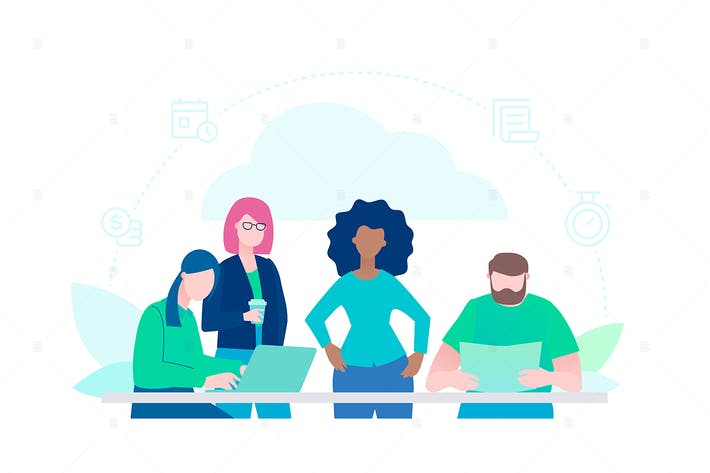Thumbnail for Creative group - flat design style illustration