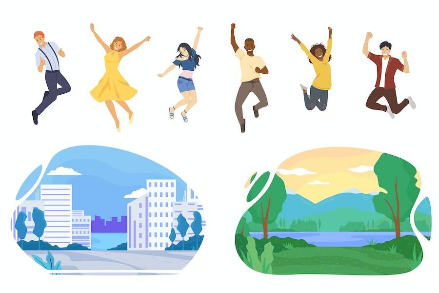 Gente feliz de diferentes nacionalidades saltando
