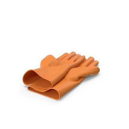 Orangene Haushalts-Handschuhe