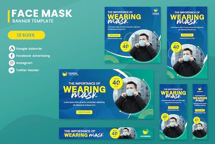 Wearing Mask Banner Ads Set Template