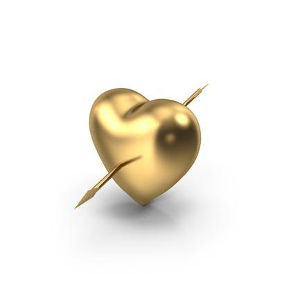 Золотое сердце со стрелой